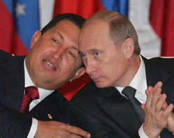 Russian Prime Minister Vladimir Putin and Venezuelan President Hugo Chavez are getting too close for comfort